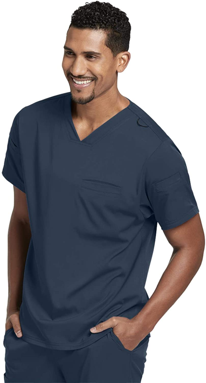 Grey's Anatomy GRST009 Wesley Sport V-Neck Scrub Top - Spandex Stretch Steel XL
