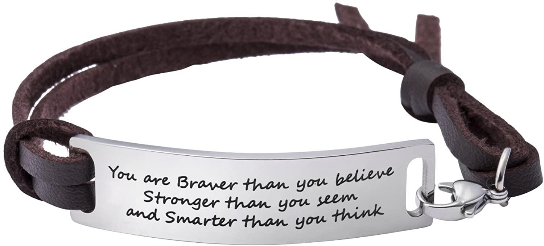 Yiyang Motivational Gift Inspirational Leather Bracelet Adjustable Bangle Jewellery Stainless Steel