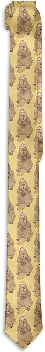 Men's Tie Beaver Hipster Vintage Fashion Silk Skinny Ties Personalized Gift Neckties