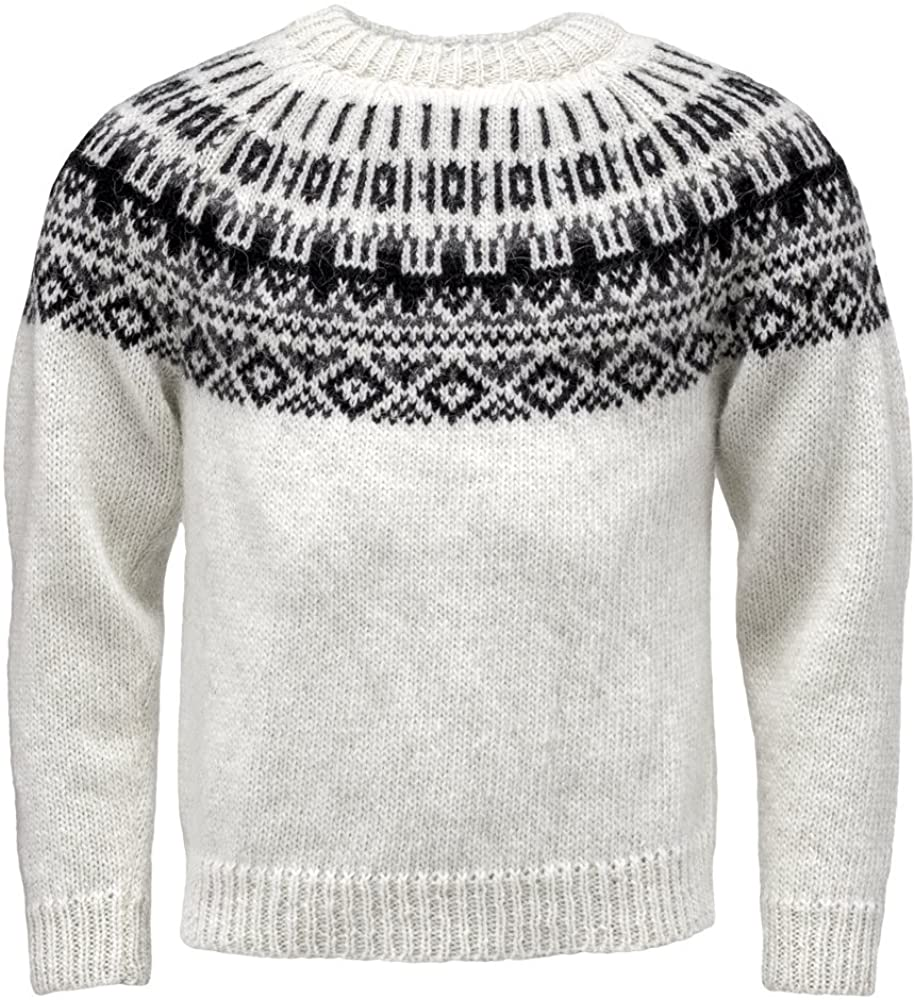 ICEWEAR Elis Men's Sweater Lopapeysa Design 100% Icelandic Wool Long Sleeve Winters Sweater Without Zipper