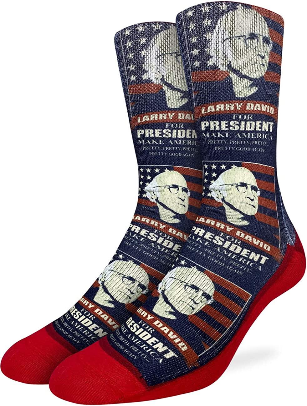Good Luck Sock Men's Larry David for President Socks - Red, Adult Shoe Size 8-13