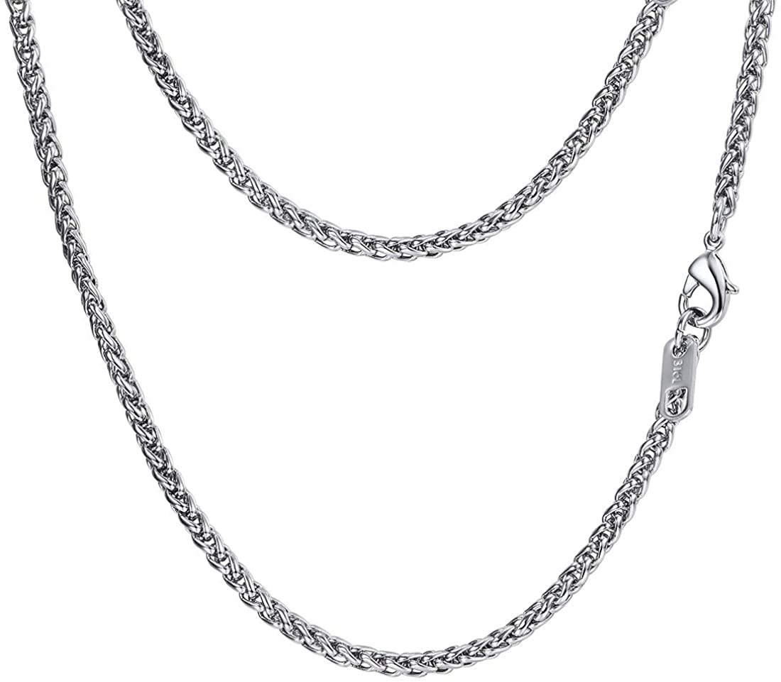 Stainless Steel Necklace, Wheat Chain/Rope Chain/Cuban Chain/Box Chain, Black/18K Gold Plated, 18/20/22/24/26/28/30, Come Gift Box