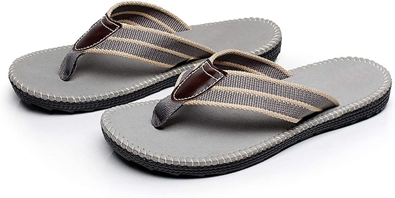 Mens Flip Flops Thong Sandals, Lightweight Rubber Wide Slipper with Arch Support Grey