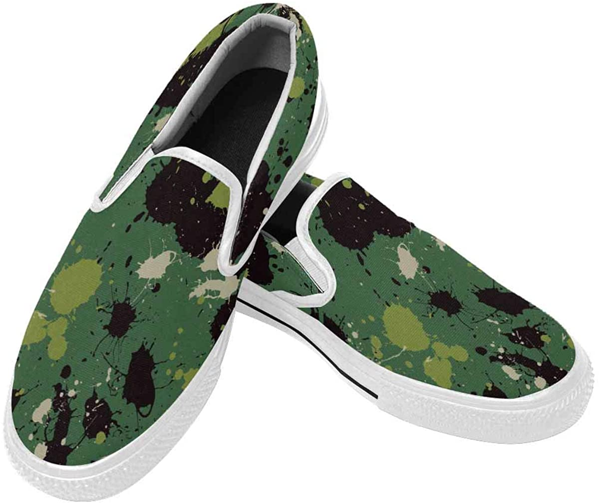 InterestPrint Splatter Camouflage Mens Canvas Shoes Slip on Shoes Non Slip Casual Loafers Flat Outdoor Sneakers US12