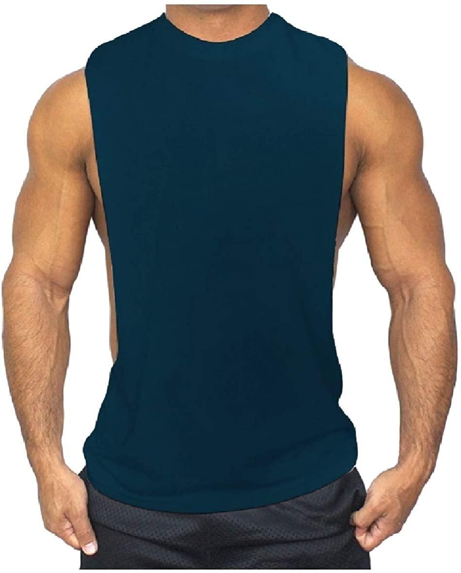 AngelSpace Men Plain Vest Base Simple Fitness Layers Fine Cotton Tank Top Sleeveless Tee Lake Blue XL