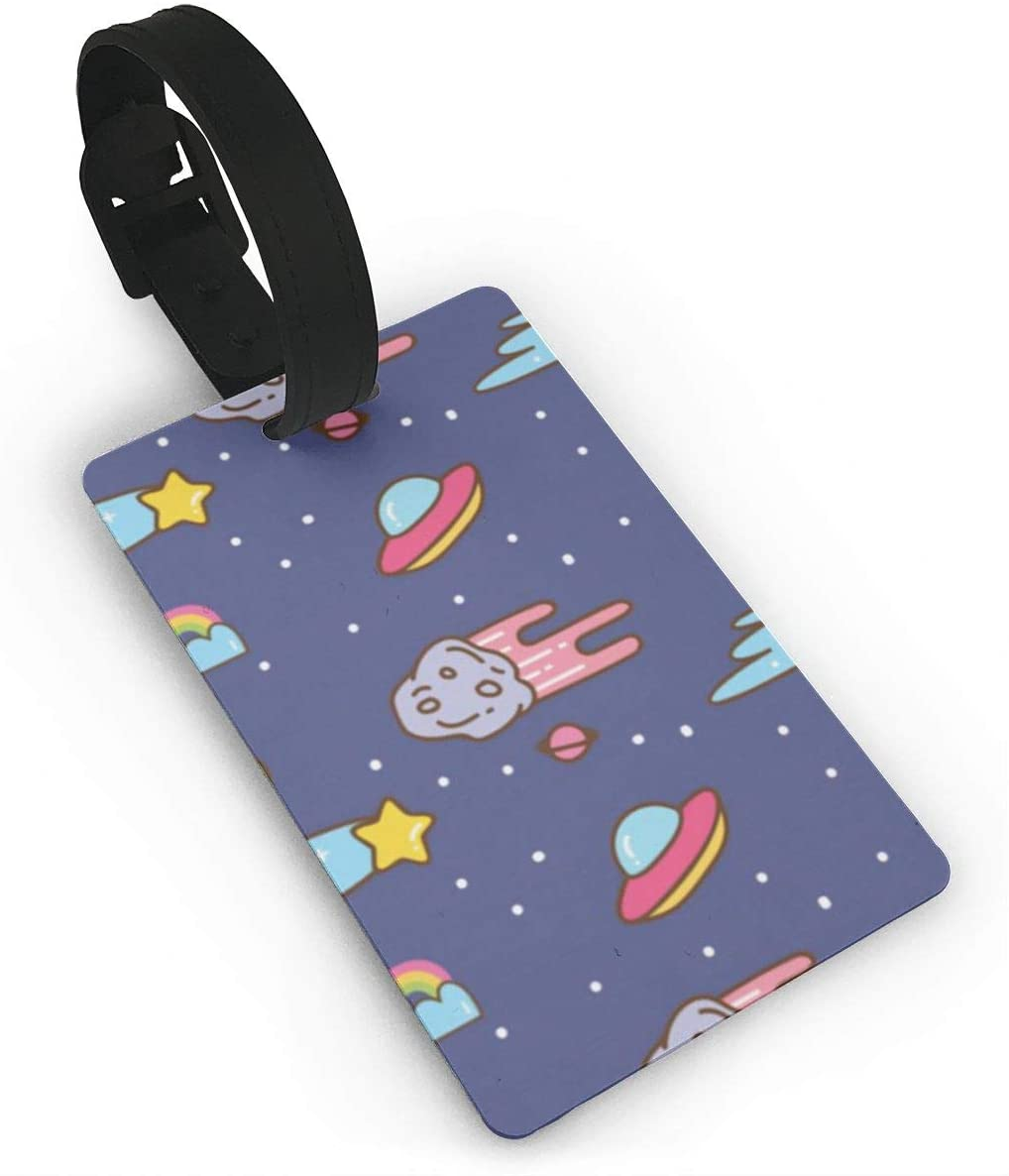 LAURAWALLACE UFO Stars and Meteors in Kawaii Style Background Personality Luggage Bag ID Tags