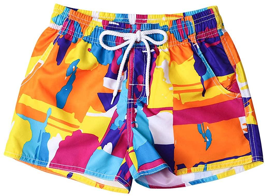 Couples Swimsuit Womens & Mens Swim Trunks Multicolor Painted Beach Surf Quick Dry Shorts, DEATU Bathing Suits Shorts