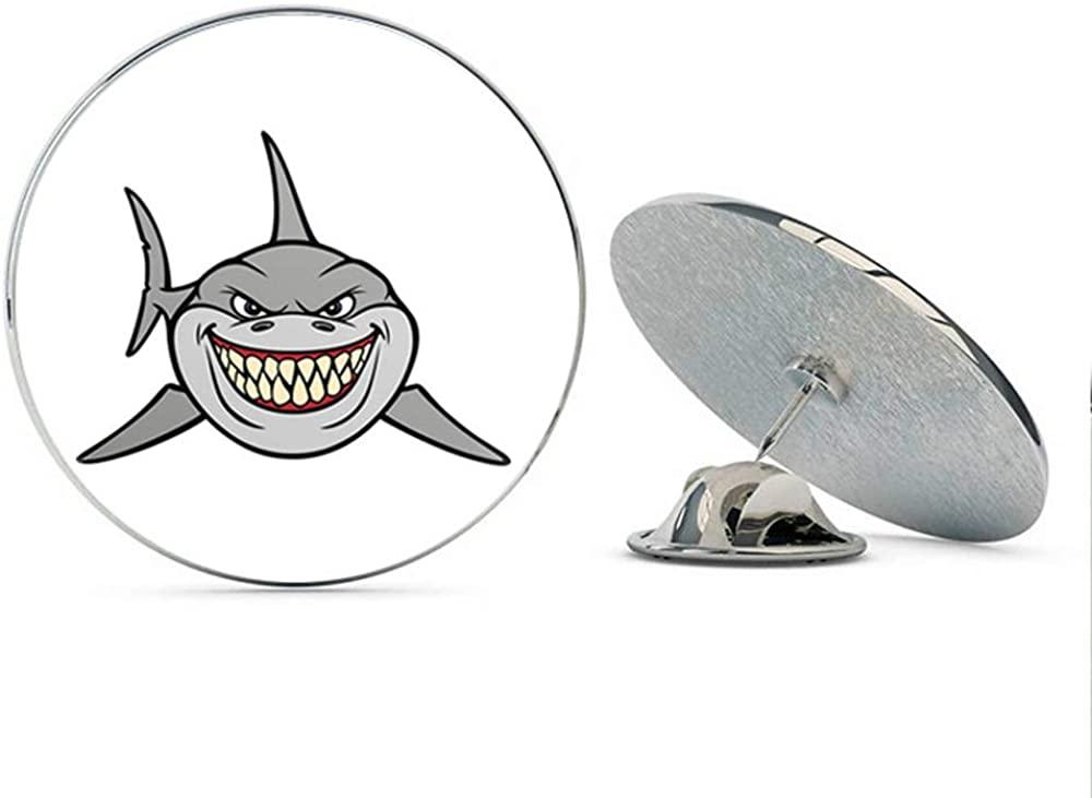 BRK Studio Cool Hungry Hunting Gray Smiling Shark Cartoon Emoji Round Metal 0.75