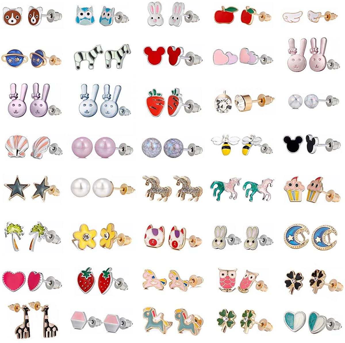 40 Pairs Little Girls Earrings Set Hypoallergenic Stud Earrings Jewelry for Teens Girls