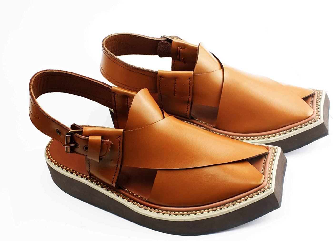 handmade Imran Khan Style Leather Peshawri Sandal Golden
