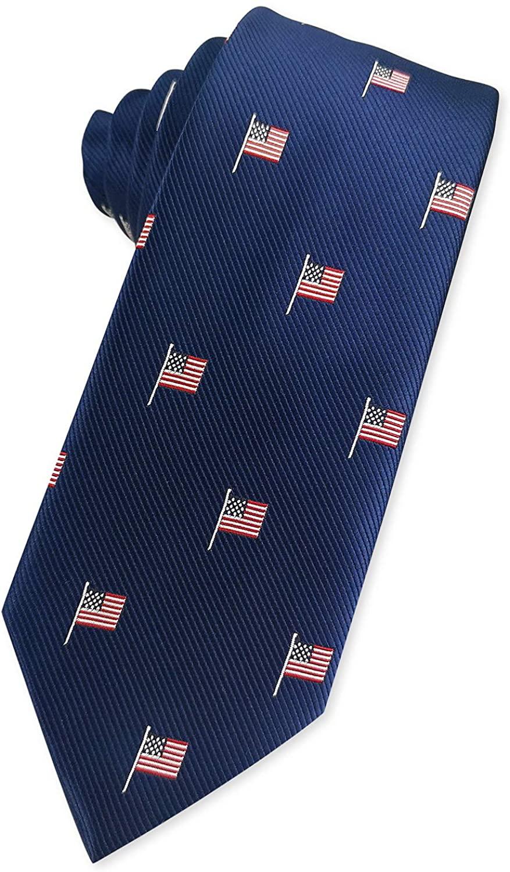KOOELLE Fashion American Flag Jacquard Tie Patriotic Neckties for Men
