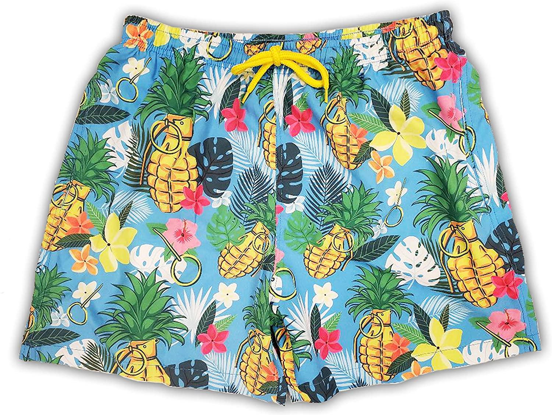 Savage Patriot Men's Swim Trunks Super Stretch Pineapple Swim Shorts 5 Inch Pool