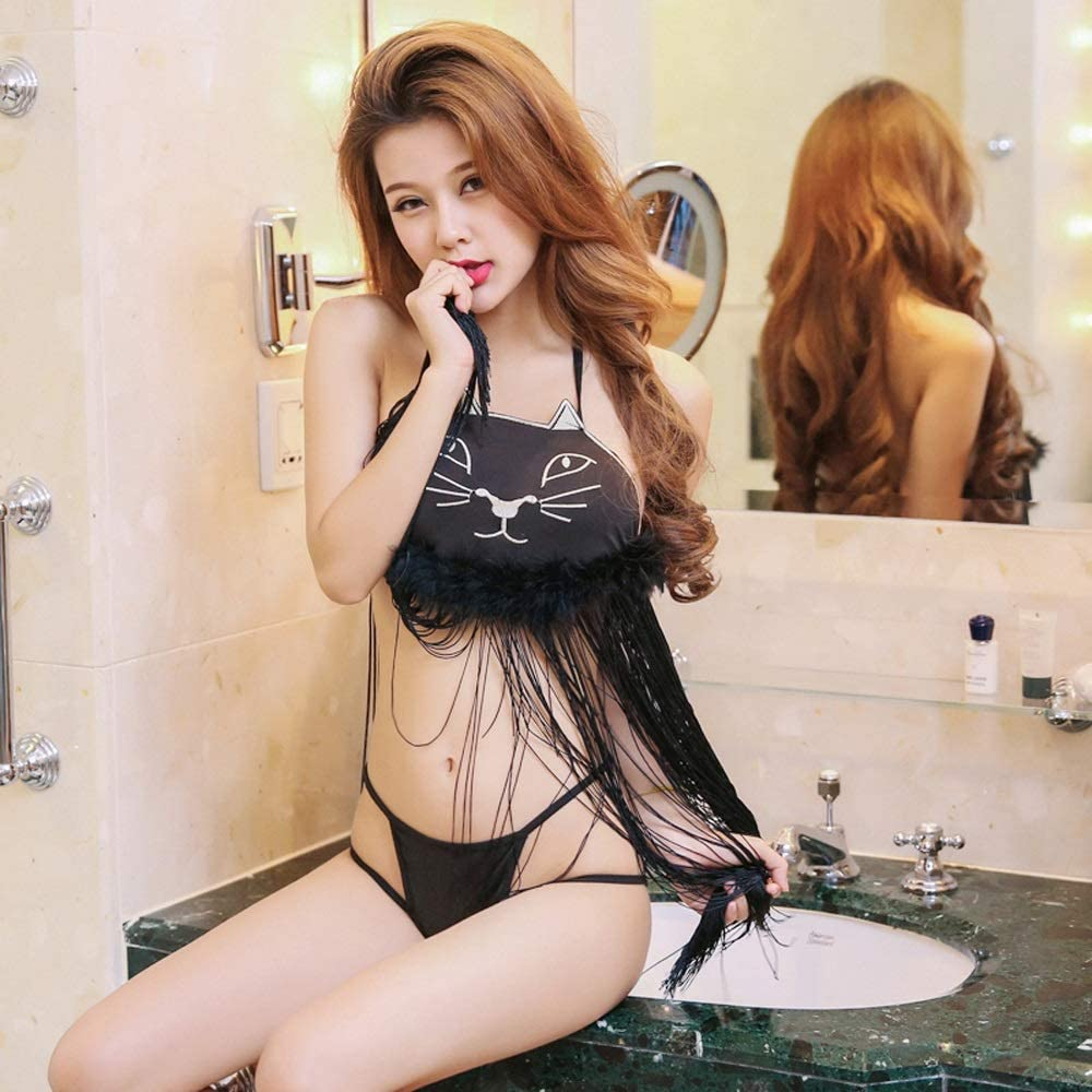 LYS hot Lingerie hot Fringed Embroidered Cat Bunch Chest Backless Perspective Temptation Suit hot Uniform Temptation Female Clothes