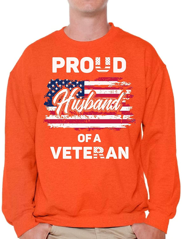 Awkward Styles Proud Husband of a Veteran Crewneck Made in USA Patriotic Husband Sweater