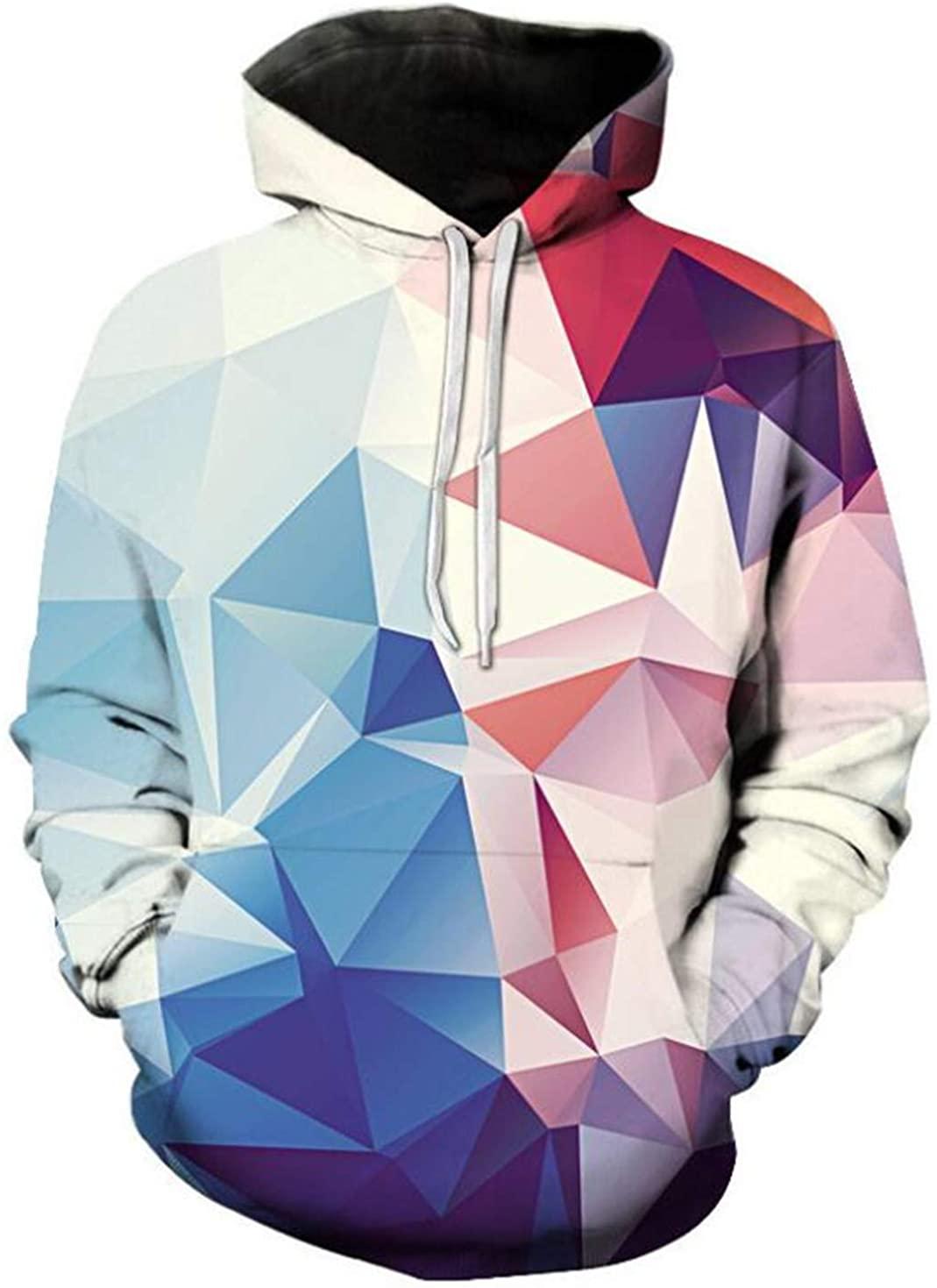 Ylansea Mens Hoodies 3D Hooded Pullover Print Jumpers Pockets Drawstring Sweatshirts