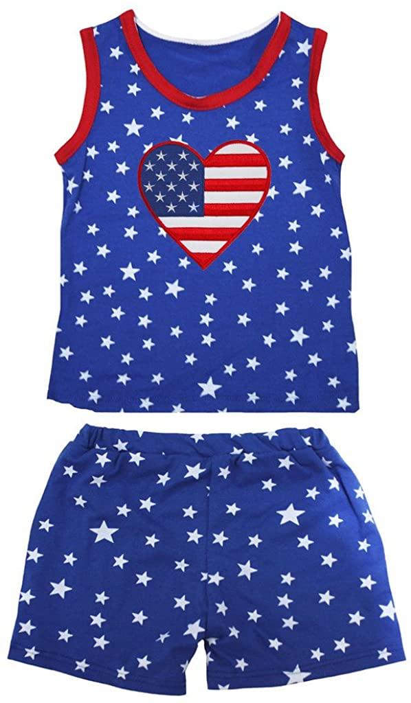 Petitebella America Heart Patriotic Stars Red Cotton Shirt Blue Short Set 1-8y