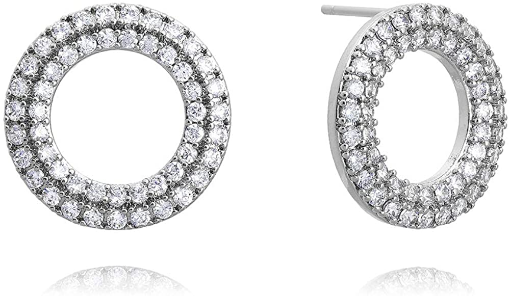 Nature Stone | Gold Plated | Cubic Zirconia | 2 Layered Circle Filled with Cubics | Stud Earrings | Earrings for Women Girls