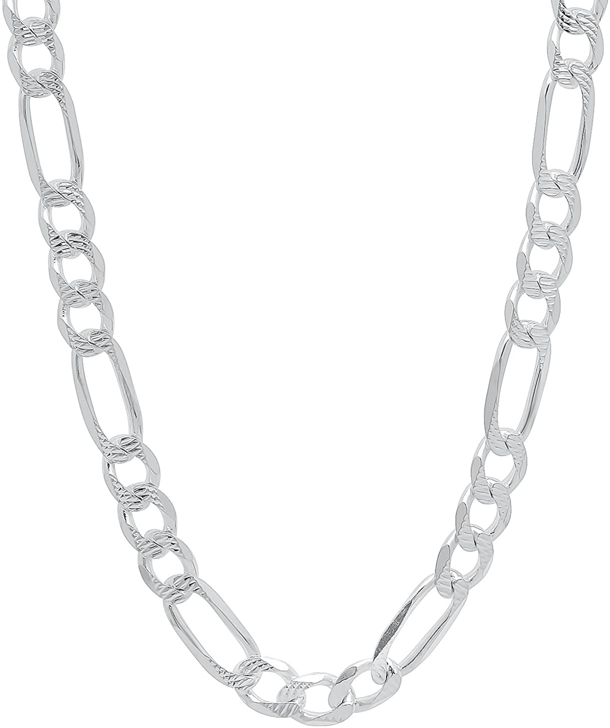 Men's 5.2mm Diamond-Cut Silver Flat Figaro Chain Necklace, 22 inches + Jewelry Cloth & Pouch