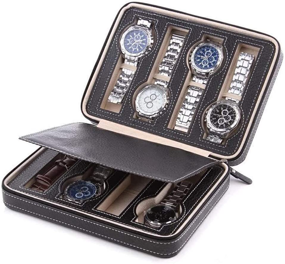 AWZSDF 8 Slot Leather Portable Travel Watch Box Travel Case - Watch Organizer Collection - Top Grade Carbon Fibre PU Leather,A