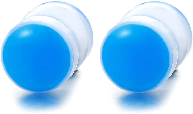 White Blue Circle Screw Stud Earrings Women Men, Steel Cheater Fake Ear Plugs Gauges Illusion Tunnel