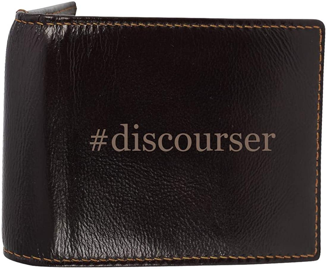 #discourser - Genuine Engraved Hashtag Soft Cowhide Bifold Leather Wallet