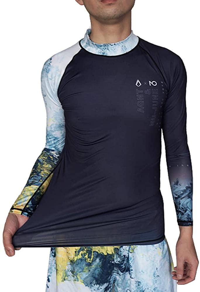 NU-JUNE Rashguard Swimsuit Men Long Sleeve UV50+ Quick Dry Swim Dive Shirt Swimwear Top Compression Swimwear Surfing Swimming