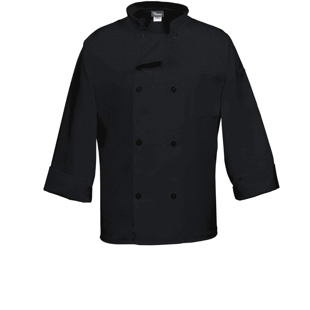 Fame Fabrics 82090 C8P Long Sleeves, 8 Buttons Chef Coat, Black, LG