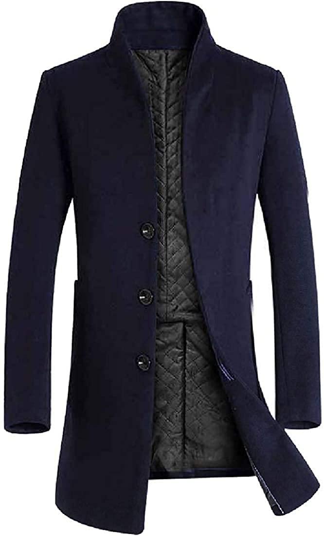 Ghsywgy Men Long Sleeve Casual Woolen Coat Business Down Jacket Trench Topcoat