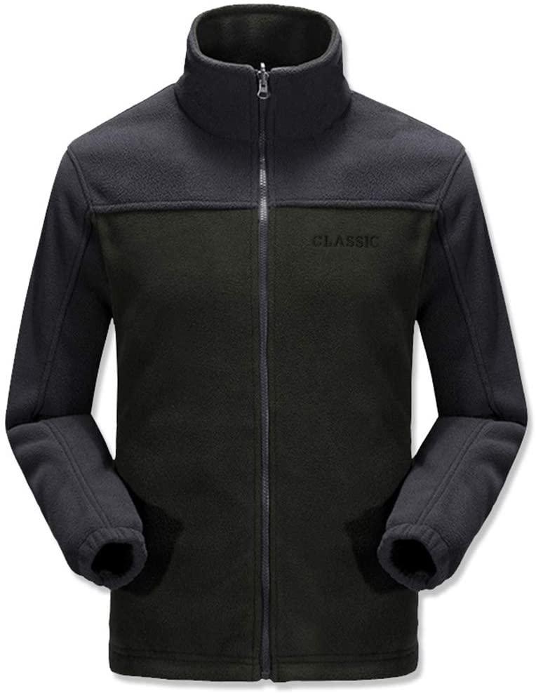 ZWLXY Men's Outdoor Jacket Caught Fleece Warm Casual Fleece Spring and Autumn Cardigan Coat,C,XL