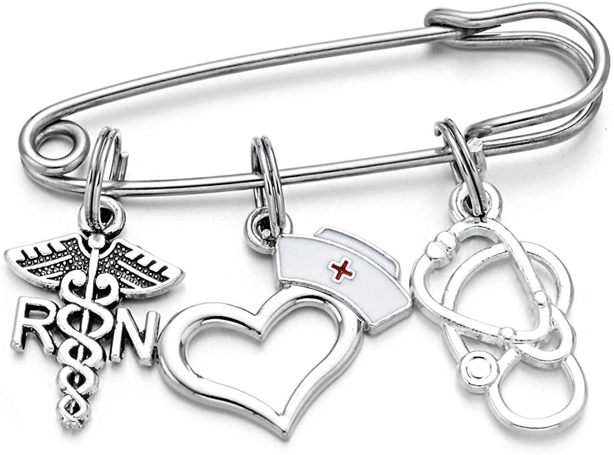 DYJELWD Registered Nurse RN Pin Medical Caduceus Nurse Brooch Birthday Graduation Jewelry Nurse's Day Gifts