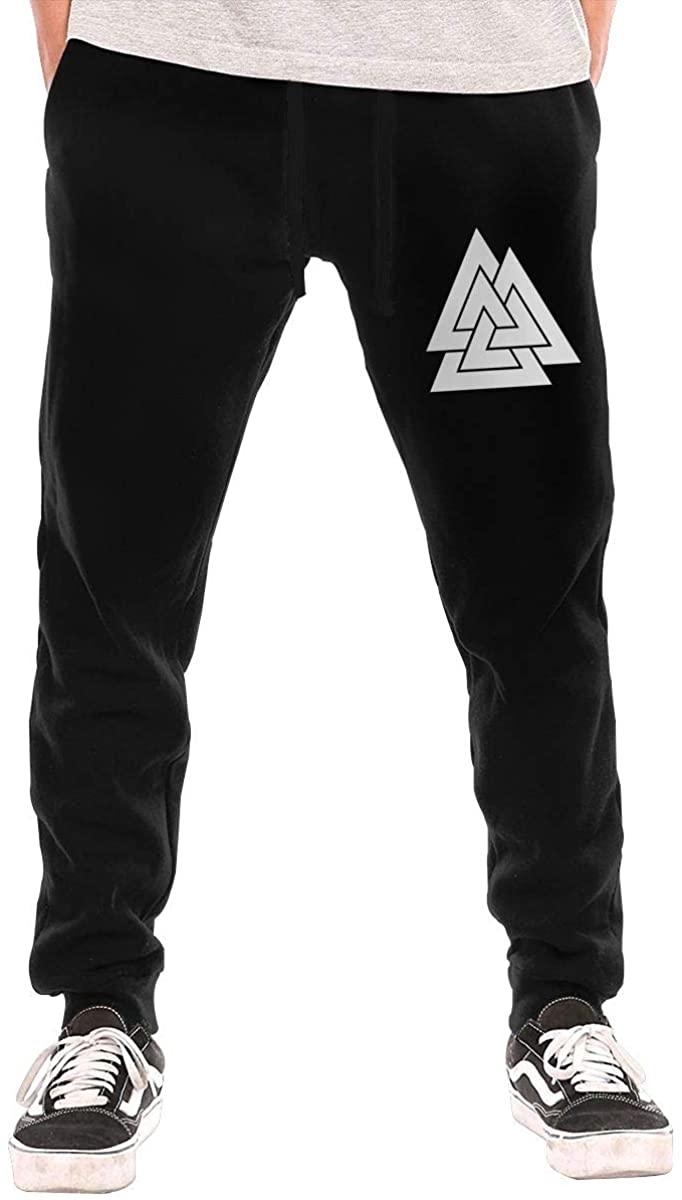 JINGSHIKEJIFAZHAN Valknut The Symbol of Odin Mens Long Sweatpants Comfortable Trousers Motion Sweatpants