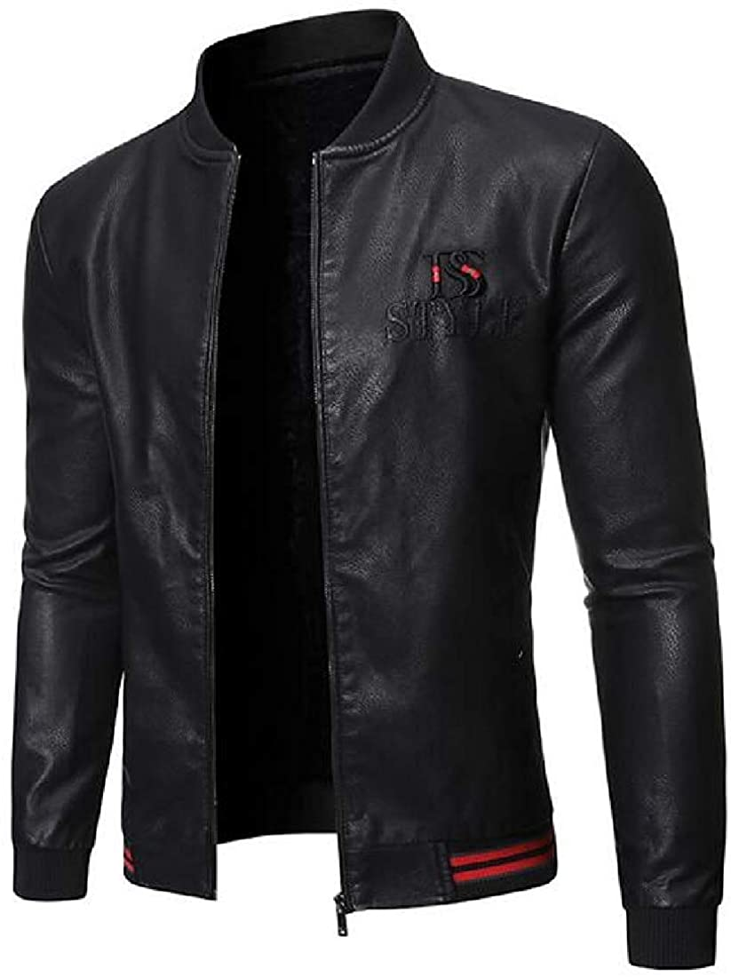 Gjkhsdfkj Men Baseball Jacket Faux Pu Zip Front Fleece Lined Moto Biker Jacket Coat,Black,US-M