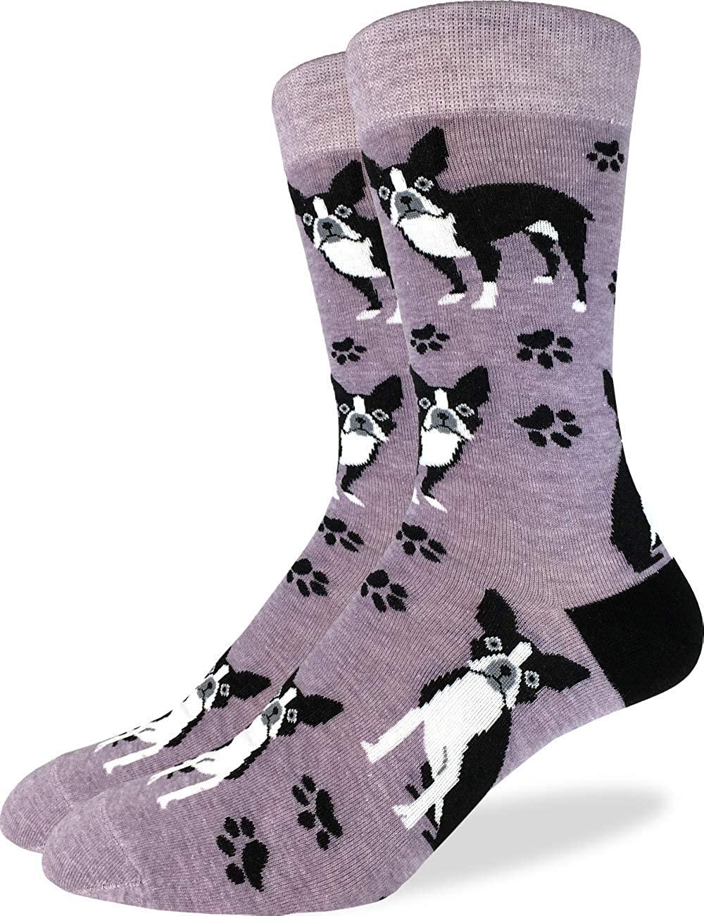 Good Luck Sock Men's Extra Large Boston Terrier Socks, Size 13-17, Big & Tall