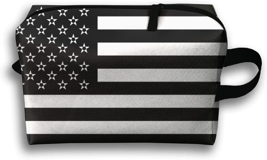 HTSS American Flag - Subdued Portable Toiletry Cosmetic Bag Waterproof Makeup Make Up Wash Organizer Zipper Storage Pouch Travel Kit Hand Bag