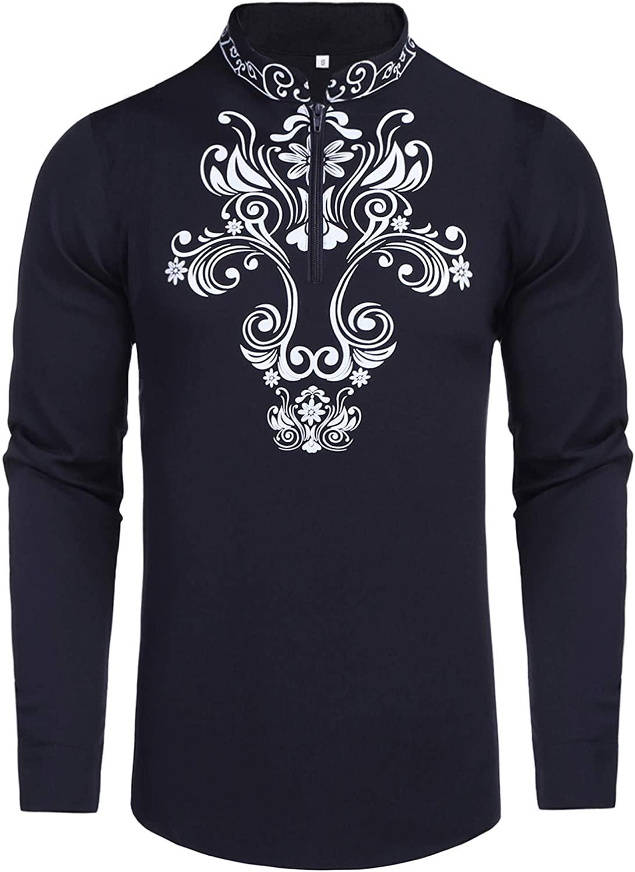 Men's Henley T Shirt Dashiki African Print Shirts Zip Up Slim Fit Blouse Top Long Sleeve Casual Beach Hippie Shirt