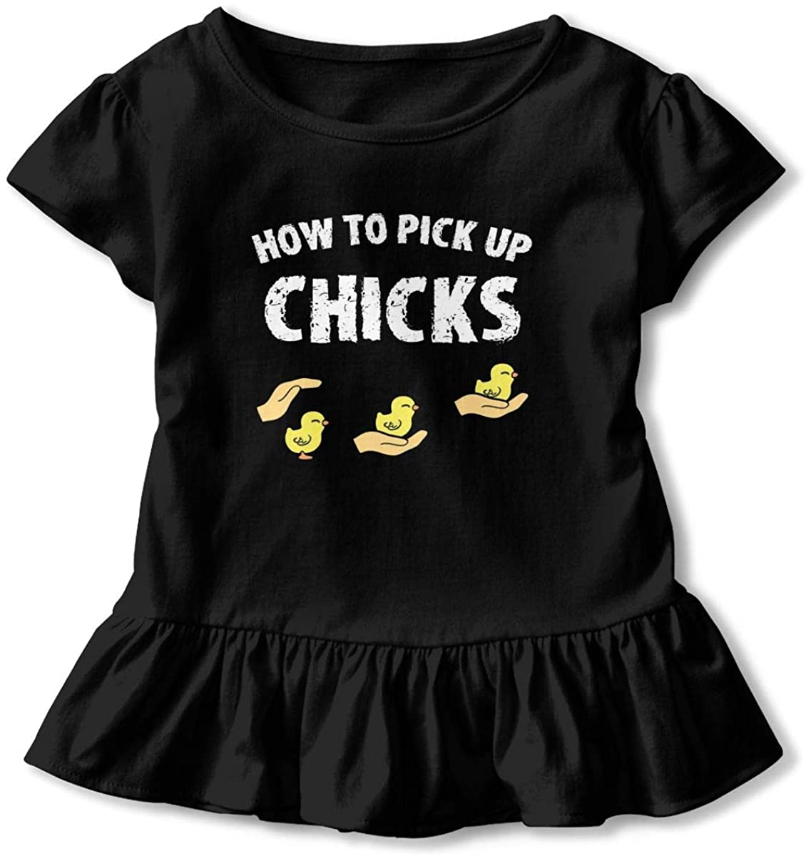AP.Room How to Pick Up Chicks Toddler Girl's Ruffle T-Shirt Short Sleeve 2-6t