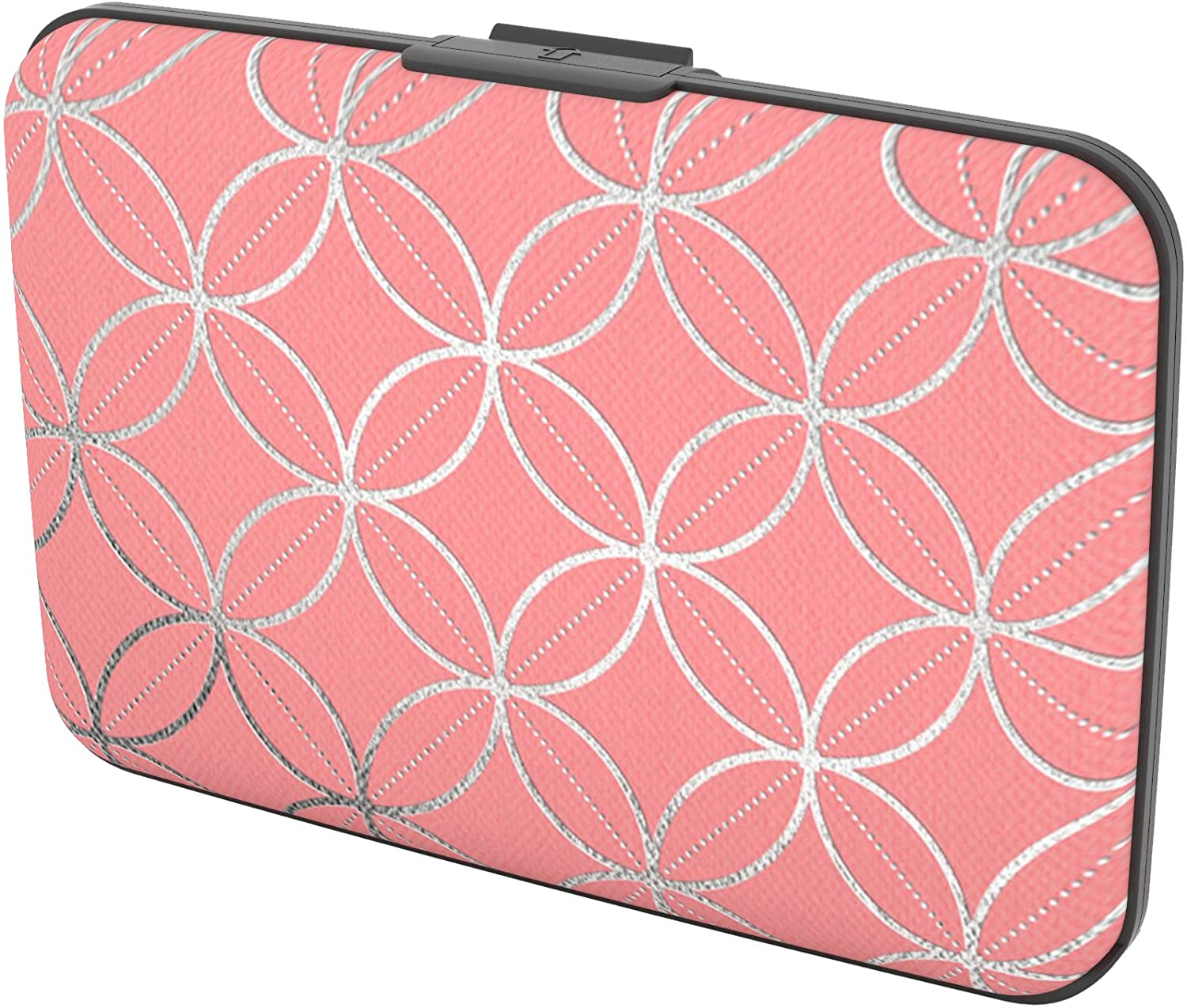 Gift Trenz Security Wallet-Circles and Diamonds, Pink/Silver