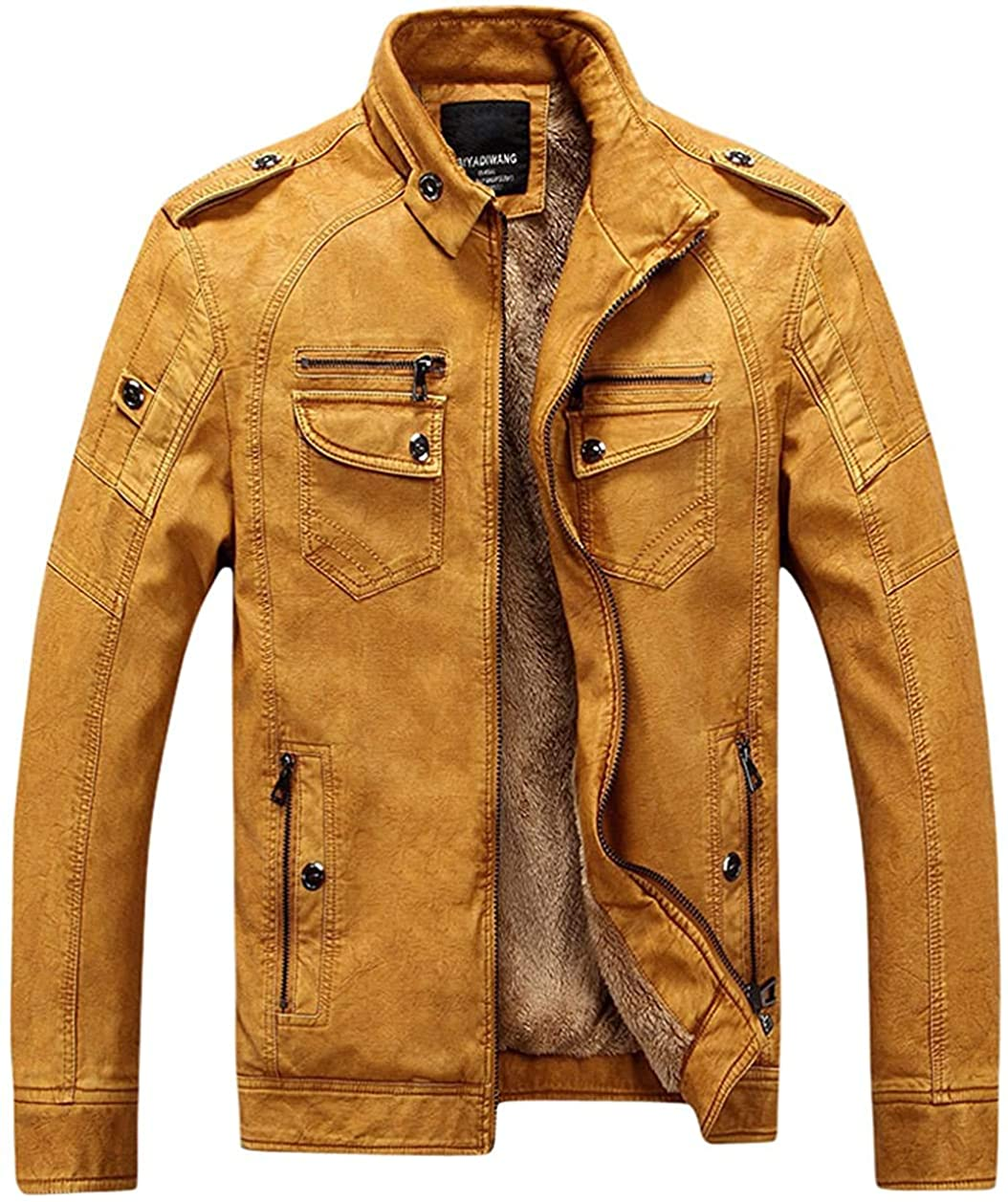Gsdgjgg Men's Casual Stand Collar Zip-Up Faux Leather Jacket with Fleece Lined,Yellow,X-Small