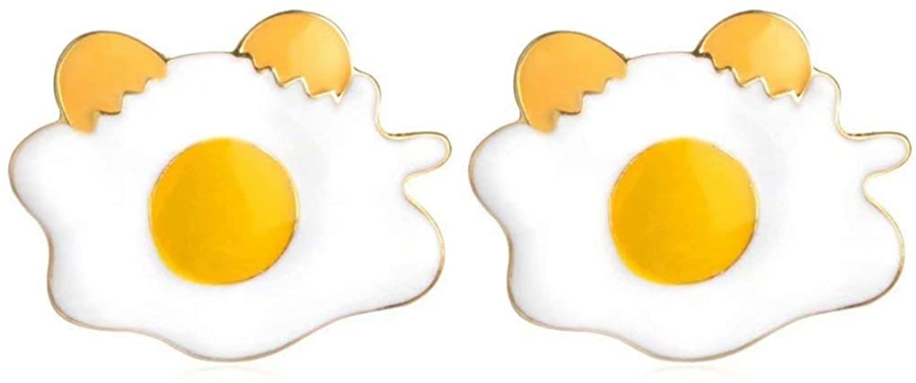 Charmart Poached Eggs Lapel Pin 2 Piece Set Enamel Brooch Pins Denim Jacket Collar Bag Hat Badges Gifts