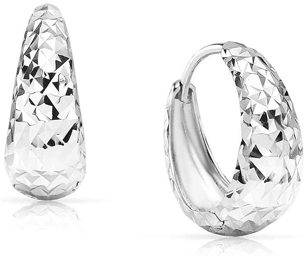 SolidSilver - Sterling Silver Snapper Hoop Earrings with Diamond Cut Design