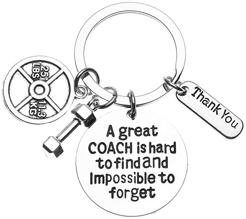 Sportybella Trainer, Fitness Great Coach is Hard to Find But Impossible to Forget Keychain, No Excuse Exercise Keychain, Weighted Barbell Dumbbell Charm, Workout Gifts
