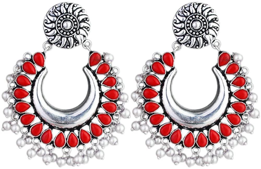 Coral & Pearl gemstone created german silver Stud earrings jewelry 36.56 g crystalcraftindia