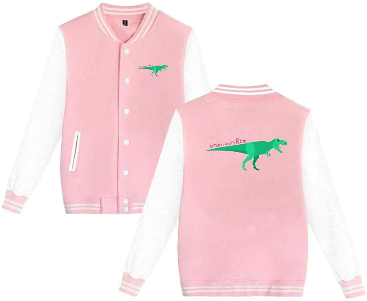 MOCSTONE Unisex Varsity Jacket Tiranozaurs Rex Dinosaur Baseball Letterman Jackets Sport Coats