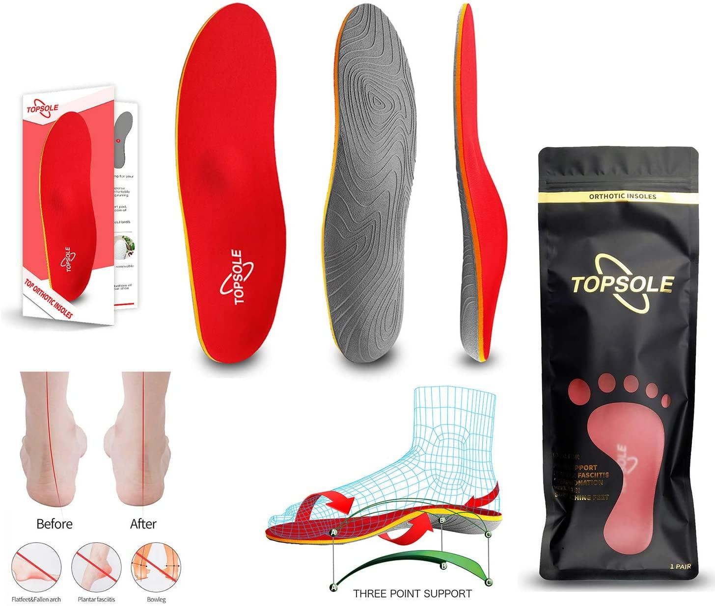 Topsole Flat Feet Metatarsal Orthotic Insoles Arch Support Full Length Inserts Metatarsal Pinnacle Plus for Metatarsalgia, Plantar Fasciitis, Heel Pain, Big Toe, Pain Forefoot Pain …