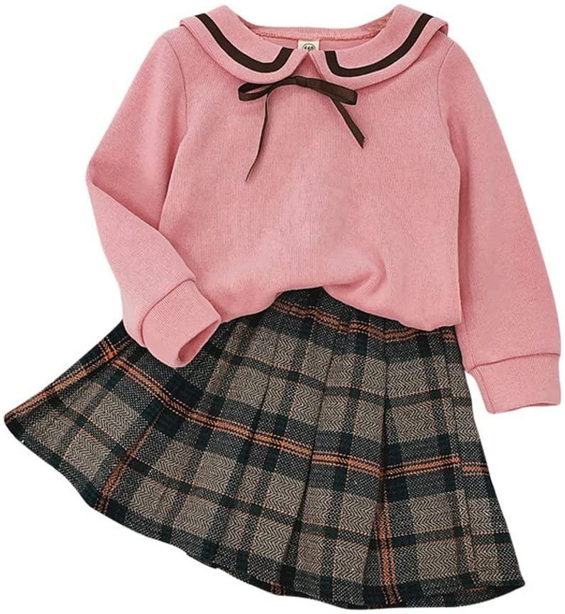 XuBa 2pcs Girl Dress Suit Cartoon Bear Ear Collar Long-Sleeved Shirt and Short Pleated Skirt Plaid Dress Children Clothing Pink 15/140
