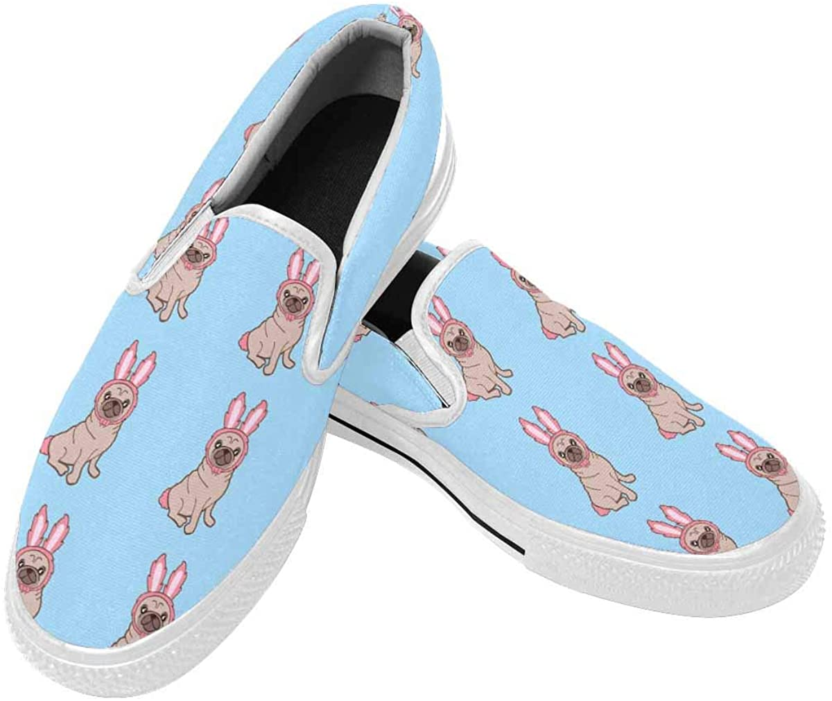 INTERESTPRINT Slip-On Shoes for Men, Canvas Loafers Shoes Non Slip Shoes with Rubber Sole Cartoon Funny Dog US10