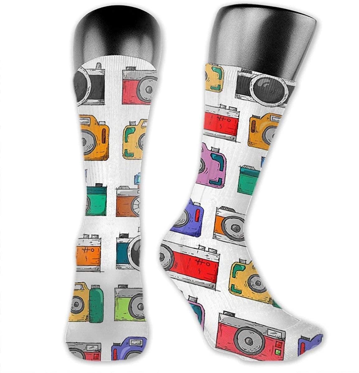 Unisex Crazy Funny Retro Camera Socks Colorful Athletic Medica Socks Novelty Casual Crew Socks