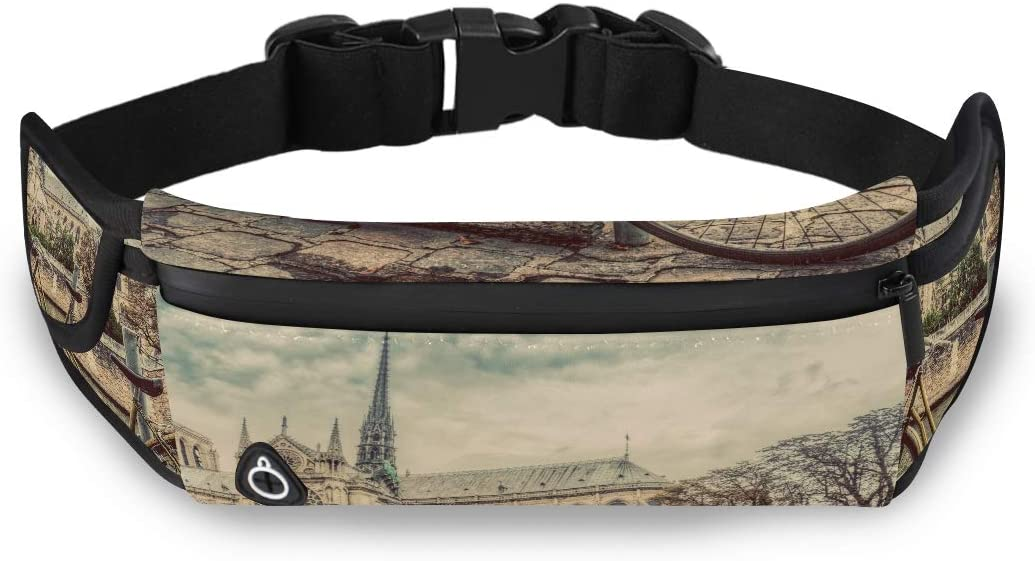 Retro Bike Next To Notre Dame Cathedral In Paris Men Bags Fashion Traveling Bag Travel Waist Pack With Adjustable Strap For Workout Traveling Running