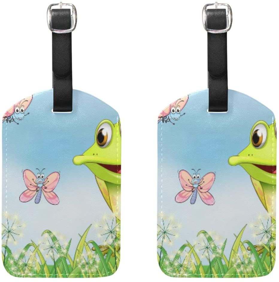 Luggage Tags Travel Bag Tag Suitcase A Frog With Three Butterflies Suitcase Baggage Labels 2pcs