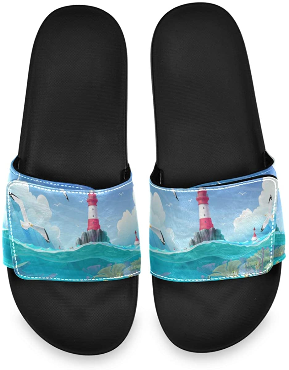 Velcro Slide Sandals for Men Women - Cartoon Lighthouse Sea Port Nautical Flat Slippers Soft Sole Spring Summer Non Slip Slides for Indoor Outdoor Walking
